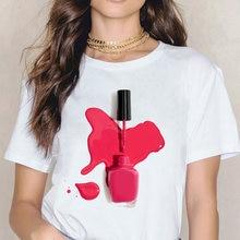 Ulzzang Винтажная футболка Женская Летняя мода Радужный лак
