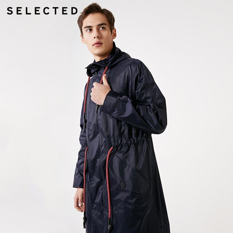 SELECTED Spring New Men's Silhouette Hooded Casual Long Windbreaker Jacket C|419121522