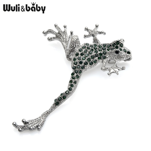 Wuli&baby Green Rhinestone Frog Brooches Metal Lovely Jumping Frog Animal Brooch Pins Gifts 3