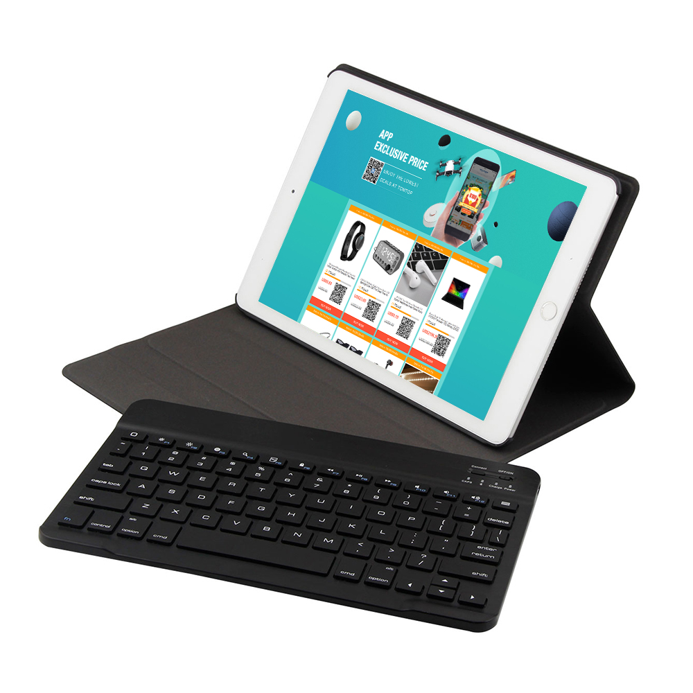 BT3.0 Wireless Keyboard Case Tablet Protective Case for iPad Air1/iPad Air2/iPad Pro 9.7/iPad 9.7(2017/2018) (Black-Black)