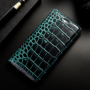 Image 5 - Luxo crocodilo genuíno caso de couro da aleta para apple iphone 11 pro max negócios telefone celular capa carteira