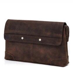 Bolso de mano MC1009 Crazy Horse Vintage para hombre, bolso de mano con cremallera para hombre, bolso de teléfono, regalos de negocios