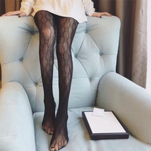 Women Sexy Letter Pantyhose Nylon Elastic See Through Fishnet Tights Stretch High Waist Stocking Female Hosiery Ladeis Collants