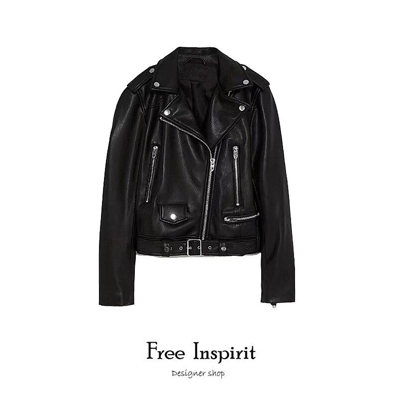 2019 New Hot Women  PU Faux Leather Jackets Lady Sashes Pockets Decorate Black Zippers  Moto Biker Style  Zippers Women's Coats