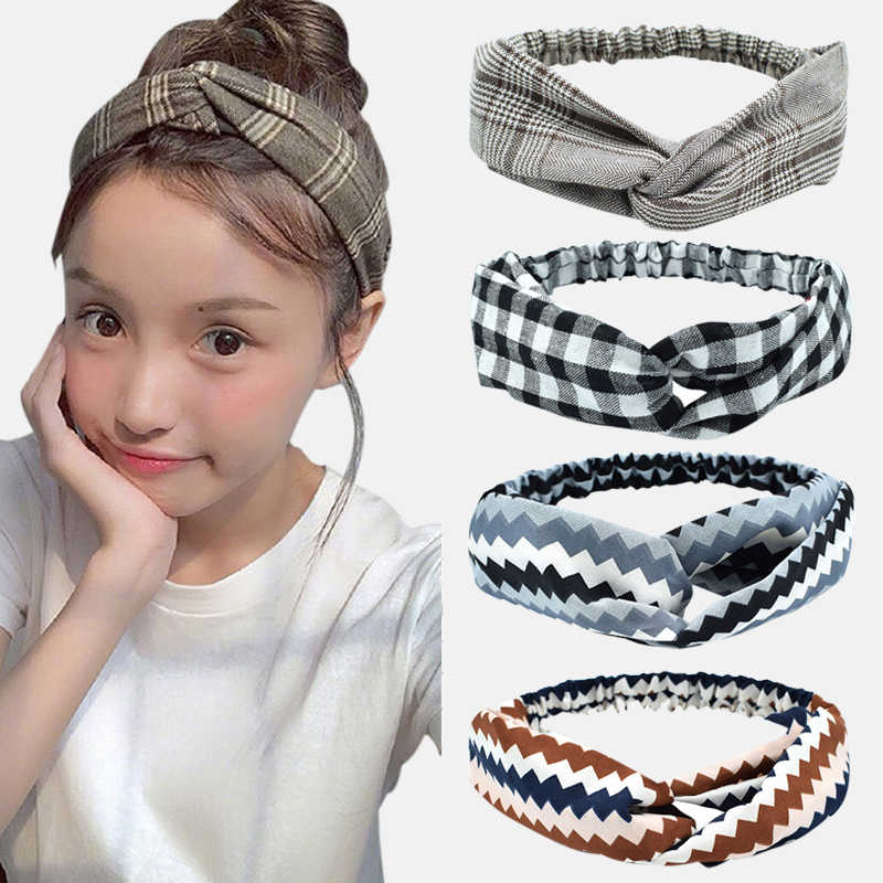Vintage Cross Simpul Elegan Hairband untuk Manis Gadis Headband Kotak-kotak Bergaris Cetak Kepala Aksesoris Rambut Pita Bandana Elastis