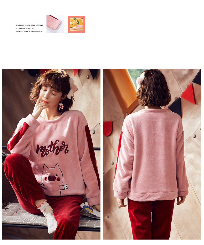 High Quality Women Pajama Sets Winter Soft Thicken Cute Cartoon Flannel Sleepwear 2 pcs/Set Tops + Warm Pants Home Clothes Mujer 24