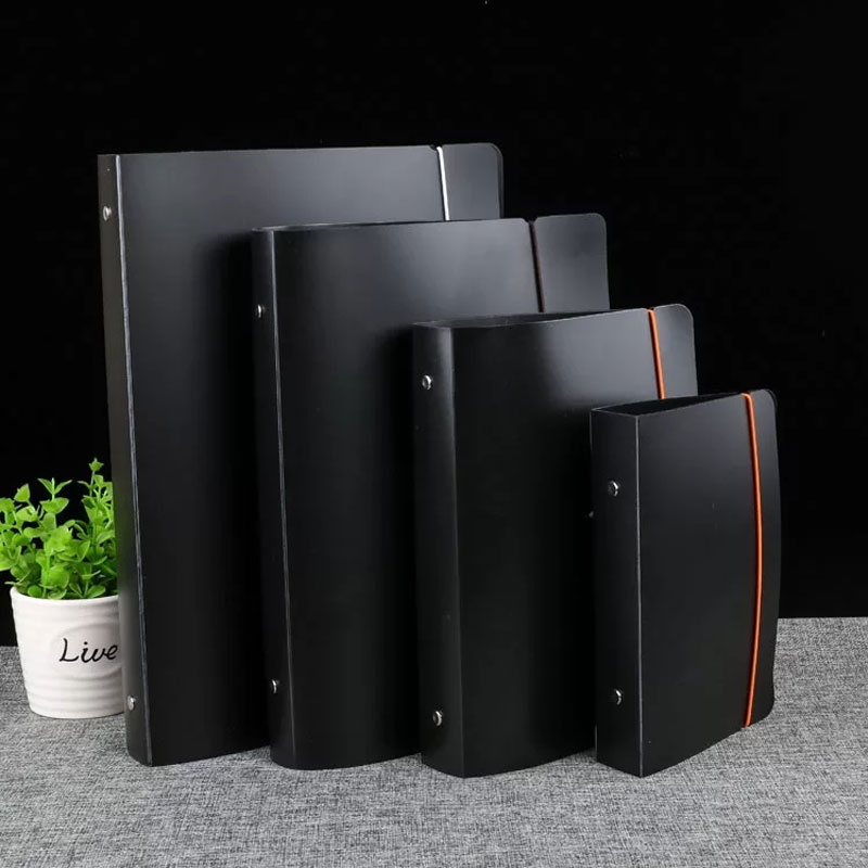 Simple A4 A5 A6 Binder Spiral Binder Loose Leaf Notebook Black Scrub Business Office Notebook Cover Stationery Supplies