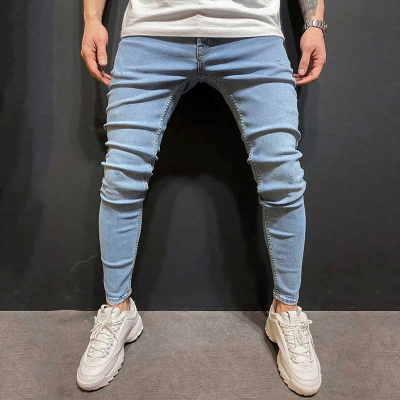 Men Pencil Pants 2019 Scratched Jeans Casual Button Unopened Stretch Denim Pants Elastic Waist High Quality Jean Plus US size