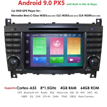 2 Din Android 4GB 64GB Car AutoRadio DVD for Mercedes Benz W203 2004-2007 W209 CLC W203 2008-2010 GPS PX5 Navigation Player Wifi image