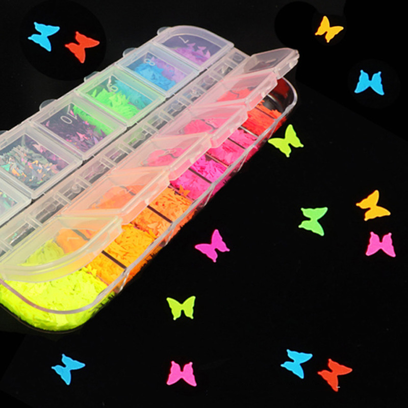 1Box 12Colors Fluorescent Butterfly Heart Star Sequins for Crafts Making Glitter Confetti DIY Flake Manicure Nail Art Decoration