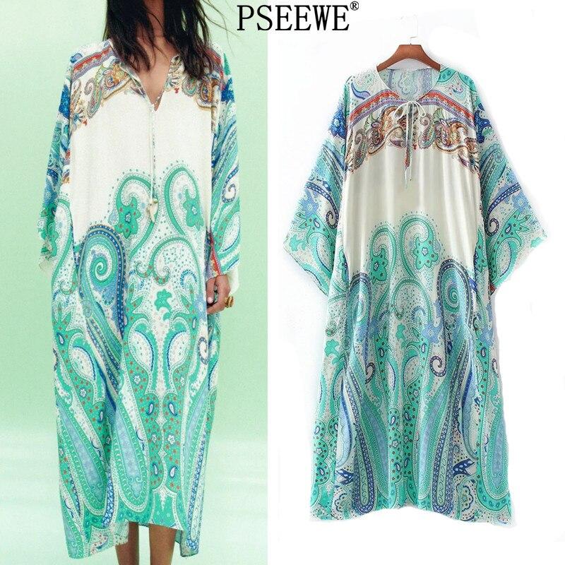 Платье PSEEWE женское длинное с винтажным принтом, Повседневная пляжная туника с длинным рукавом, с асимметричным подолом, лето 2021