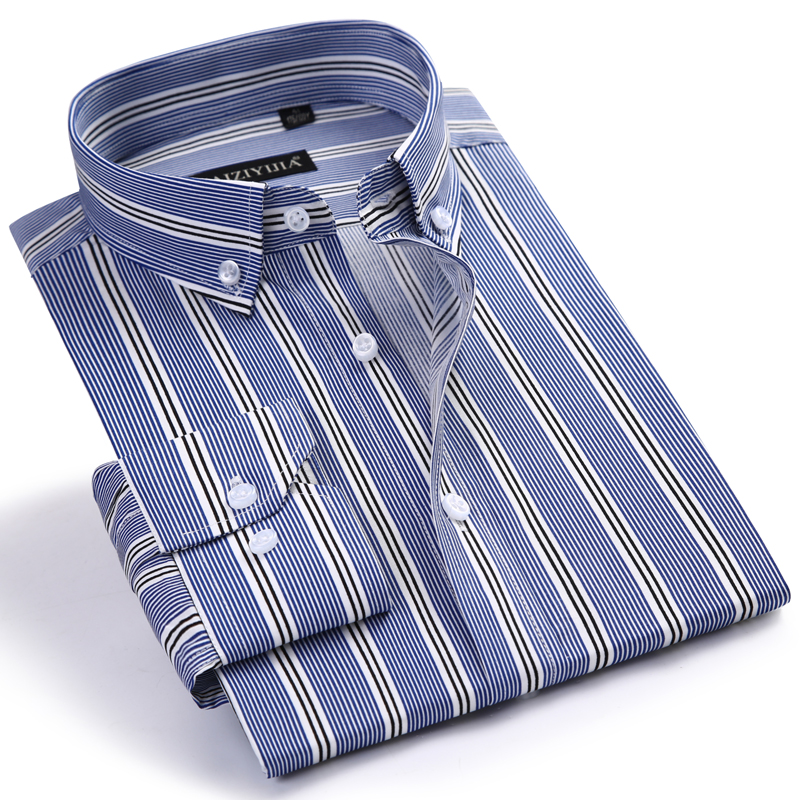 Men's Formal Long Sleeve Pinstripe Office Shirts Comfortable Standard-fit 100 Percent Cotton Casual Button Collar Dress Shirt