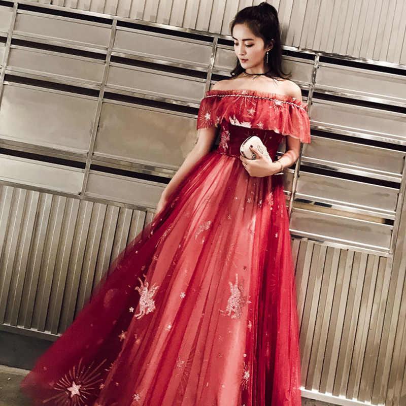 שמלת ערב סירת צוואר זה yiiya AR291 אלגנטי ראפלס בורגונדי ערב שמלת עבור נשים קו ארוך כבוי כתף Robe דה Soiree
