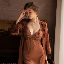 Lace Trim Women Satin ROBE Suit Sexy Loose Kimono Gown Summer Bridal Wedding Bathrobe&Nightgown Set Hollow Out Intimate Lingerie