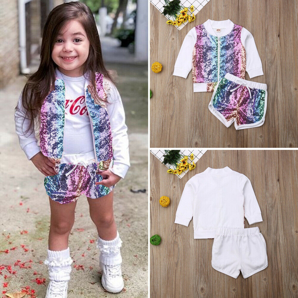 US Toddler Kid Baby Girl Clothes  Fall Clothes Sequins Pullover Tops Jacket Shorts Outfit Children Set 2pcs