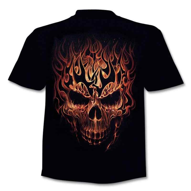 Cranio di Bellezza Freddo 3D t shirt Mens Del Motociclo Punk 3D Stampato T camicia Degli Uomini Vestiti di Estate tshirt Top Homme Pantaloni A Vita Bassa pop Camicia