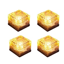 Binval Solar Ice Cube 1/4LED Light Crystal Brick Stone Lamp Garden Courtyard Pathway Patio Pool Christmas Rock Lights