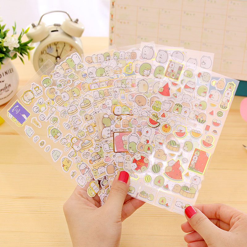 2 Pcs Kawaii Cartoon Bronzing Adhesive Stickers Cute Sumikko Stationery Sticker Diary Scrapbooking Japanese Decorative Sticker