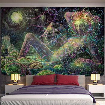 Magic Lines Medusa Tapestry Creative line painting Witchcraft Psychedelic Abstract Naked Girl Hippe Home Decor image
