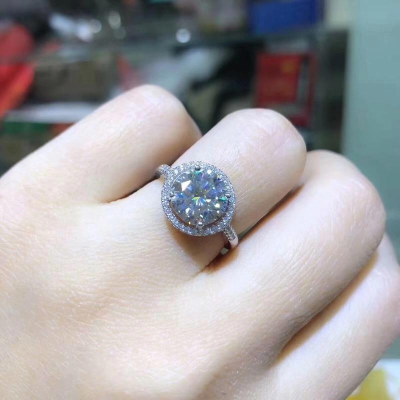 Kkmall magasin rond argent Moissanite anneau 3.00ct D VVS luxe Moissanite anneau bijoux petite amie cadeau Moissanite argent 925 anneau