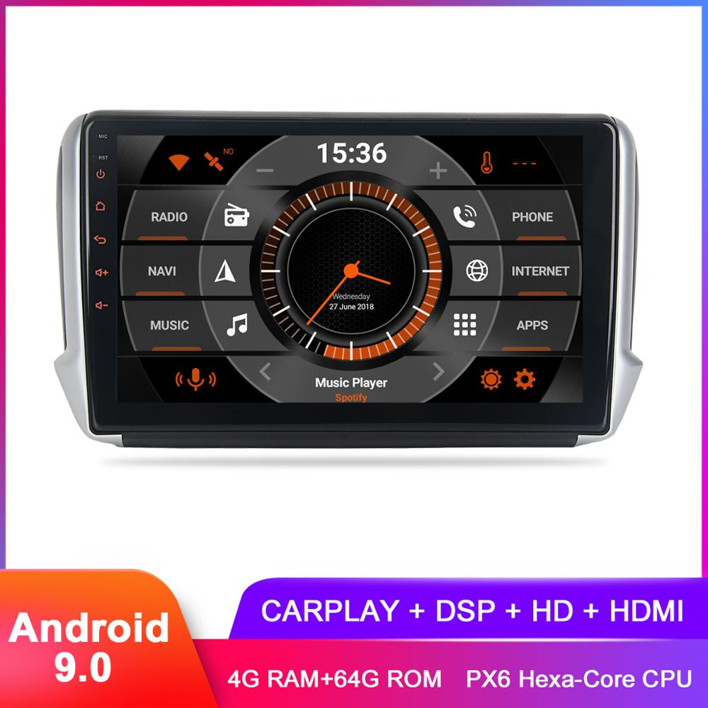 10.2 IPS Android 9 Car GPS Stereo For Peugeot2008 208 2012 2013 2014 2015 2016 2017 2018 In Dash DSP Radio FM Multimedia Player image