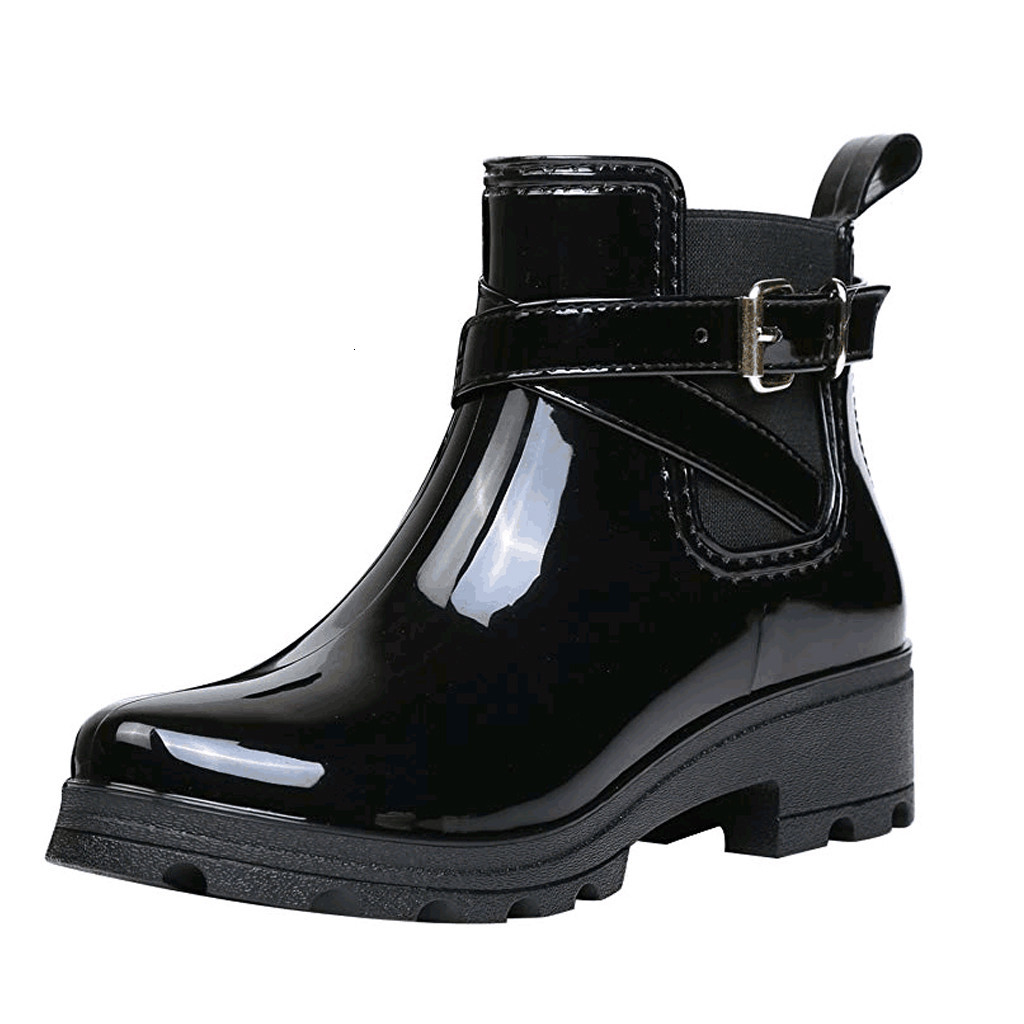 New Rain Boots Hot Sale Warm Buckle Platform Flat Slip On PVC Waterproof Motorcycle Booties Female Stylish Rainny Shoes image
