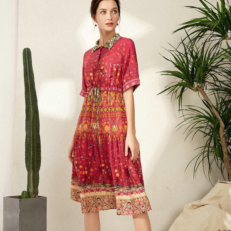 2019 femmes robe d'été col rabattu 100% soie vintage longue robe imprimer ceinture doux mode a-ligne rouge nouveau style robe n110