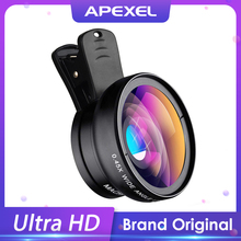 APEXEL Telefon Objektiv kit 0 45 x Super Weitwinkel amp 12 5 x Super Makro Objektiv HD Kamera Lentes für iPhone 6S 7 Xiaomi mehr handy cheap RoHS CN (Herkunft) WeitwinkelLen Oval APL-0 45WM Apple iPhones