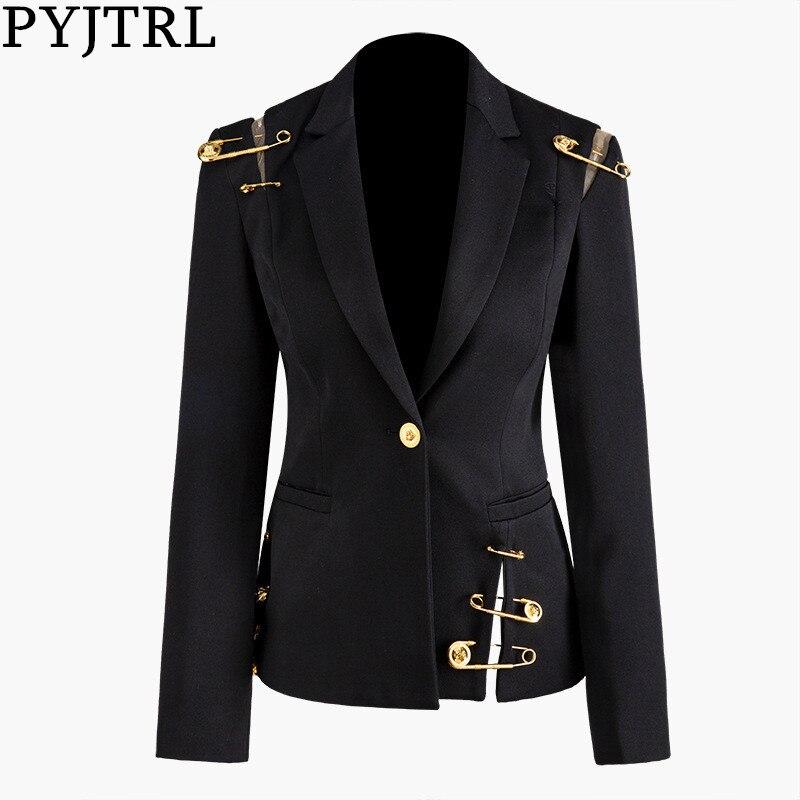 PYJTRL Women Spring Autumn Black Hollow Out Pin Spliced Jacket Fashion Tide Long Sleeve Women Coat