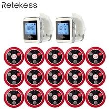 Retekess ワイヤレス 2 腕時計受信機 + 15 呼び出しトランスミッタボタンコール 4 キーポケットベルレストラン機器システム F9408
