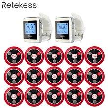 Retekess kablosuz 2 kol saati alıcısı + 15 çağrı verici düğmesi çağrı dört tuşlu çağrı cihazı restoran ekipmanları sistemi F9408