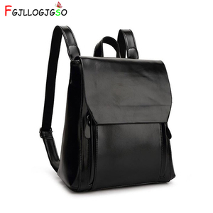 Image 1 - FGJLLOGJGSO brand 2019 New women PU leather school bags for teenage girls casual backpack Wax oil skin Lady Travel Shoulder Bag