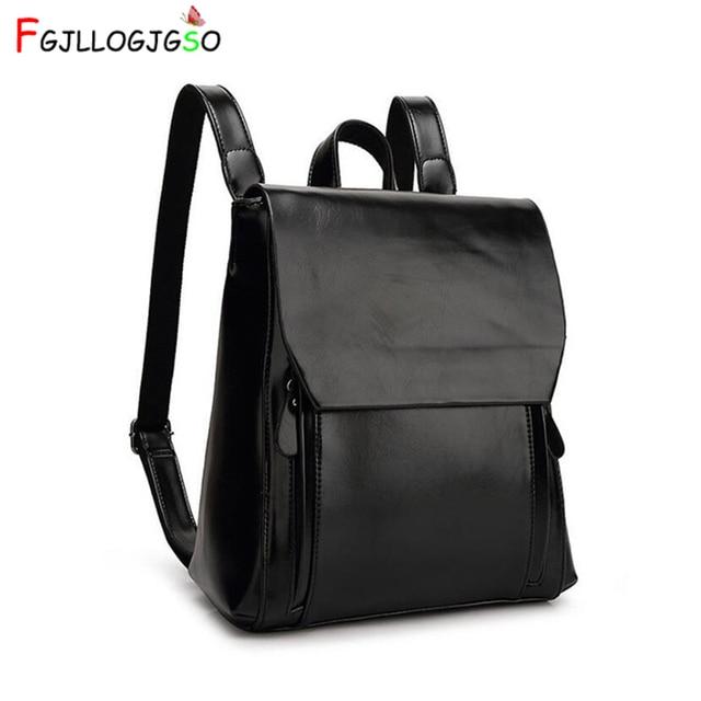 FGJLLOGJGSO brand 2019 New women PU leather school bags for teenage girls casual backpack Wax oil skin Lady Travel Shoulder Bag