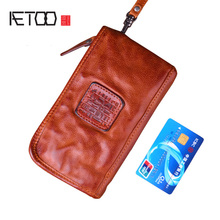 AETOO Real Cow leather Men Wallets Genuine Leather Long Purse For Men Zipper Large Capacity Card Holder Men Purse Wrinkle bag