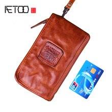AETOO حقيقي جلد البقر الرجال محافظ جلد طبيعي طويل محفظة للرجال سستة حامل بطاقة سعة كبيرة الرجال محفظة التجاعيد حقيبة