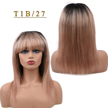 T1B/27 Blonde Human Hair Wigs Straight Hair Wig With Bang For Black Women Ombre 1B/118 Red 99J Burgundy Dorisy Non Remy Wig amazing star t1b 99j 18 дюймов
