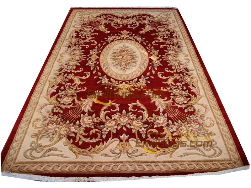 Vintage Carpets For Living Room Wool French Carpet  About Hand-knotted Thick Plush  Rug  6.4' X 9.51'