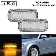 цена на 2xPCS LED Side Marker Turn Signal Light Lamp color clear for Audi A3 hatchback Sportback A4 B6/B7 A6 C6 Avant sedan
