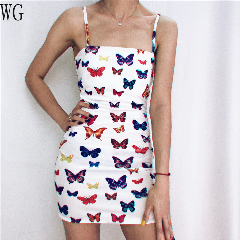 European and American Popular Suspender Dresses New Sexy Butterfly Printed A-Line Dress 's 2020 Summer Women Sleeveless