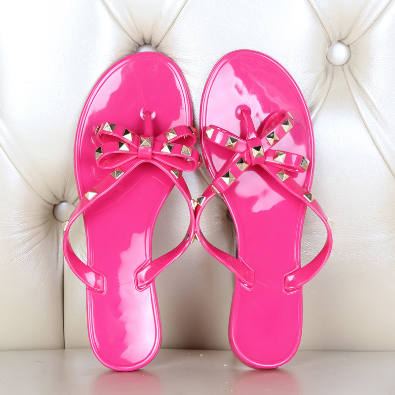 Summer Holiday Rivet Bowknot Flip Flops Girls Beach Slides Women Sandals Slip on Flat Jelly Shoes Women Studs Slippers 2019 2