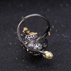 Image 5 - Gems Ba Lê Bạc 925 1.00Ct Tự Nhiên Rhodolite Garnet Hoa Hồng Hoa Mở Vòng Tay Có Thể Điều Chỉnh Vòng Cho Nữ BIJOUX