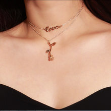 2019 Real Kolye Moana Choker Cross-border Accessories Fashion Personality Sautoir Letters Pendant Clavicle Necklace Roses(China)