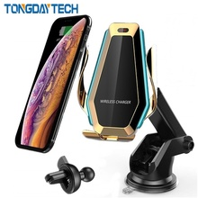 Tongdaytech 10W Car Fast Qi Wireless Charger For Iphone X 8 XS 11 Pro Max Car Phone Air Vent Holder For Samsung S10 S9 S8 Plus