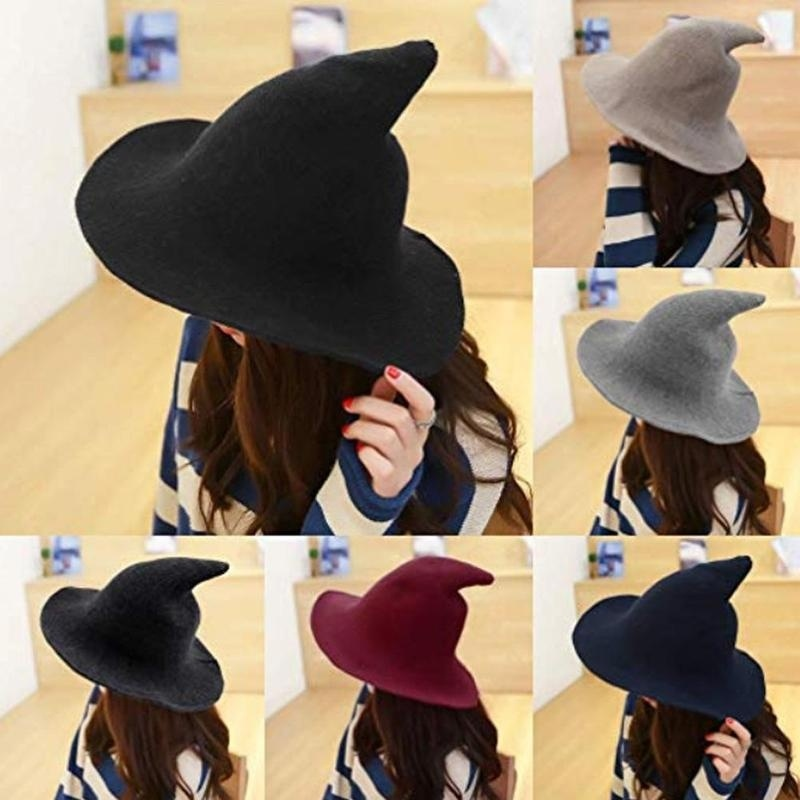 feecolor 1pcs Witch Hat Along Sheeps Wool Cap Fisherman Knitting Womens Fashion Bucket Bowl of Pointed To Halloween