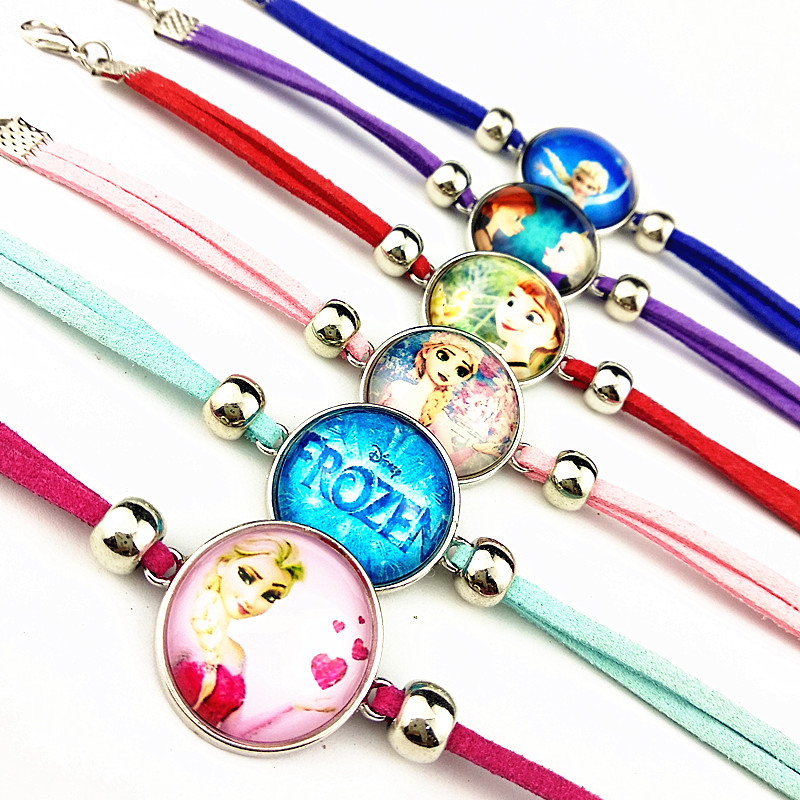 24pcs/lot Elsa Anna glass bracelets Bangle Leather Cartoon Movie hand chain for girls party gift wholesale jewelry