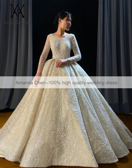 Luxury Lace Rhinestone Crystal Beading Handwork Wedding Dress 2022 2