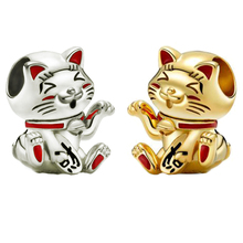 925 Sterling Silver Bead New Hot Sale Cute Lucky Cat Charms Fit Original Pandora Bracelets Women DIY Birthday Jewelry Gifts