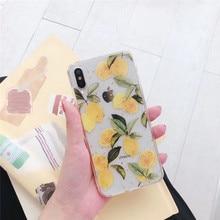 Transparent Glitter lemon fruit phone case For iphone X S Max XR case 11 Pro Max phone case 8 7 S Plus luxury phone case