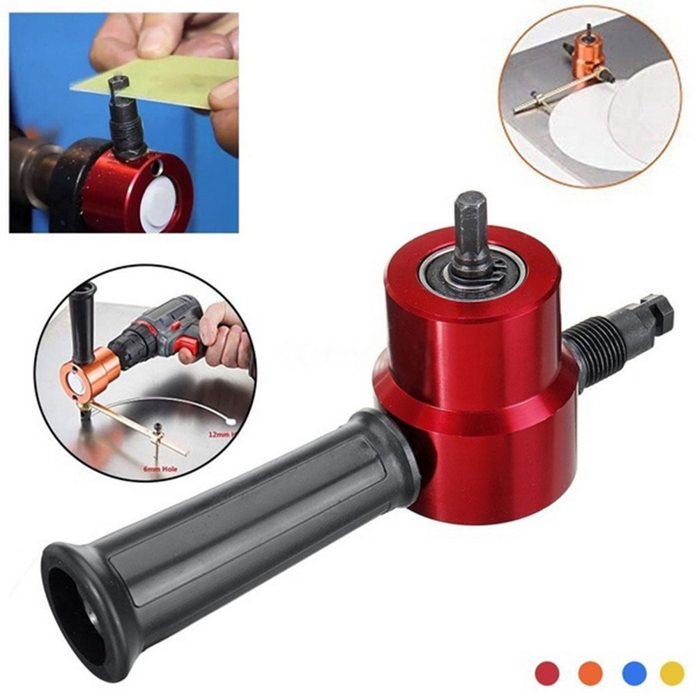 Red Metal Cutting Machine Double Head Sheet Nibbler Metal Cutter Drill Attachment 360 Degree Adjustable Metal Electric Cutter