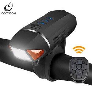Preto usb recarregável led bicicleta farol de controle remoto da frente transformar sinal chifre luz ciclismo acessórios